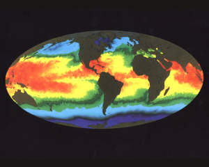 Global warming map of sea temperatures