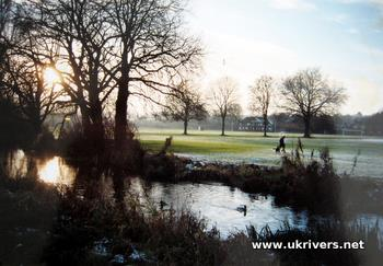 River Itchen watermeadows near Winchester College, Winchester, England