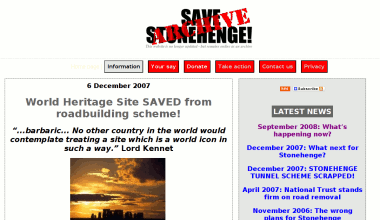 Screenshot of the Save Stonehenge campaign website.